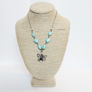 Lucky Brand Turquoise & Silver Flower Necklace